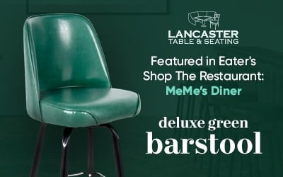 Lancaster Table and Seating Green Deluxe Barstool featured in Eater's Shop the Restaurant MeMe's Diner