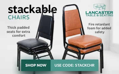 Lancaster table and seating stackable chairs on sale