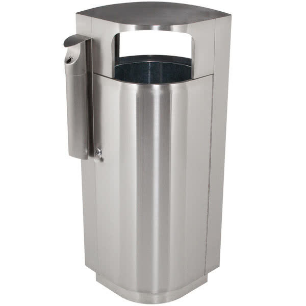 Commercial Zone 78232999 Leafview 40 Gallon Stainless Steel Trash Receptacle with Cigarette Receptacle Scratch and Dent
