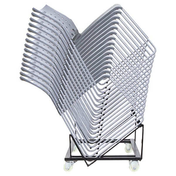 "Alera ALEHDCART Black 20 7/8"" x 22 1/2"" High-Density Stacking Chair Cart Scratch and Dent"