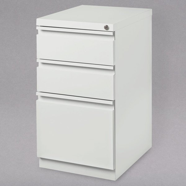"""Hirsh Industries 19353 White Mobile Pedestal Letter File Cabinet with 2 Box Drawers and 1 File Drawer - 15"""" x 19 7/8"""" x 27 3/4"""" Scratch and Dent"""