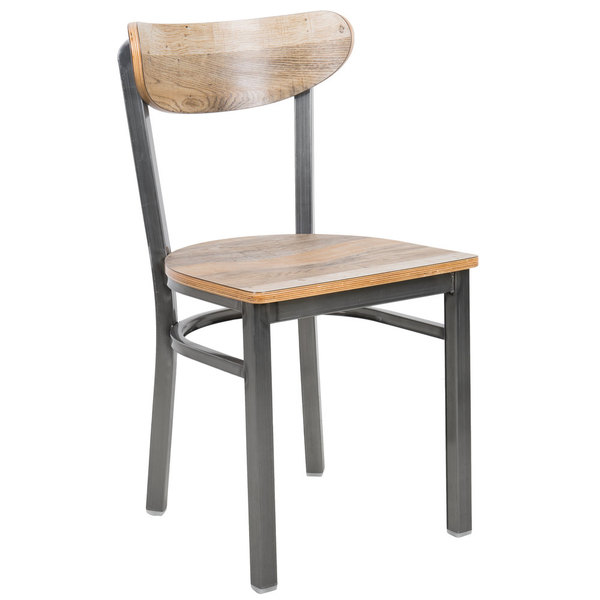 Lancaster Table & Seating Boomerang Clear Coat Chair with Driftwood Seat and Back