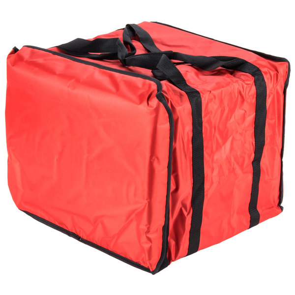 """American Metalcraft PB1914 19"""" x 19"""" x 14"""" Deluxe Insulated Red Pizza Delivery Bag with Rack"""
