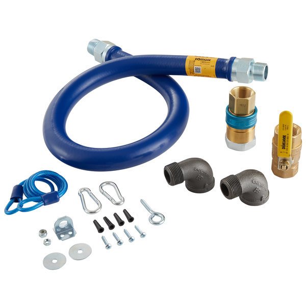"Dormont 16100KIT48 Deluxe SnapFast® 48"" Gas Connector Kit with Two Elbows and Restraining Cable - 1"" Diameter Scratch and Dent"