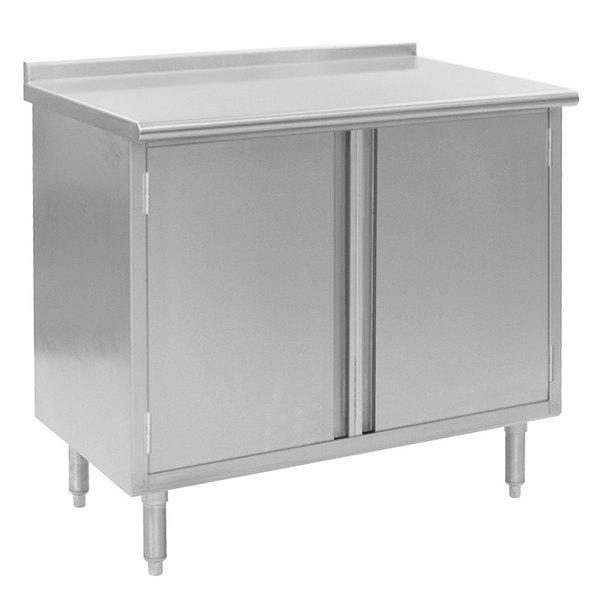 "Eagle Group UCBH30120SE 30"" x 120"" Work Table with Cabinet Base and 1 1/2"" Backsplash"