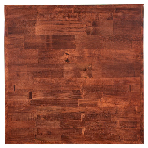 """Lancaster Table & Seating 24"""" x 24"""" Recycled Wood Butcher Block Table Top with Mahogany Finish"""