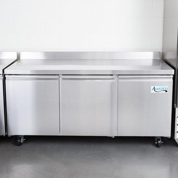 "Avantco SS-WT-72R-HC 72"" Three Door Worktop Refrigerator with 3 1/2"" Backsplash"