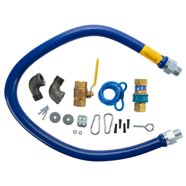 """Dormont 1675KIT48 Deluxe 48"""" Moveable Gas Connector Kit with SnapFast® Quick Disconnect, Two Elbows, and Restraining Cable - 3/4"""" Diameter"""