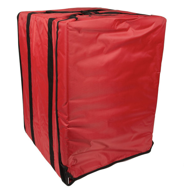 "American Metalcraft PB1926 19"" x 19"" x 27"" Deluxe Insulated Red Pizza Delivery Bag with Rack"