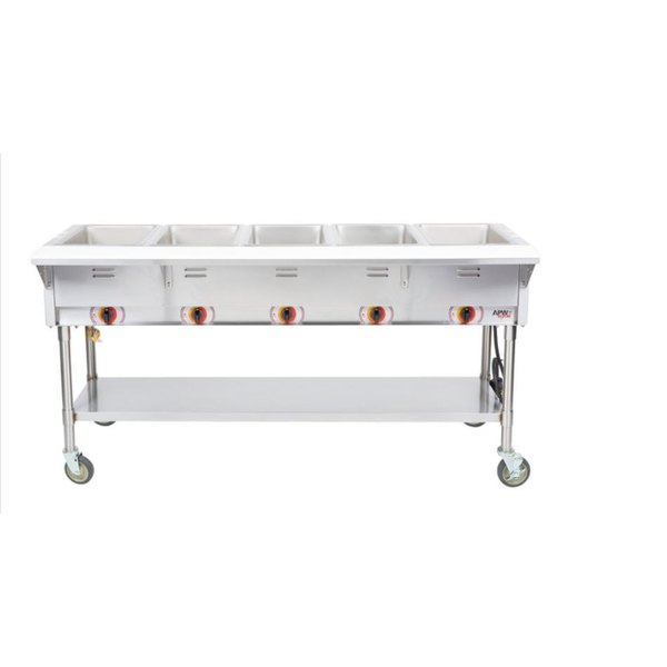 APW Wyott PST-5S Five Pan Exposed Portable Steam Table with Stainless Steel Legs and Undershelf - 2500W - Open Well, 208V Scratch and Dent