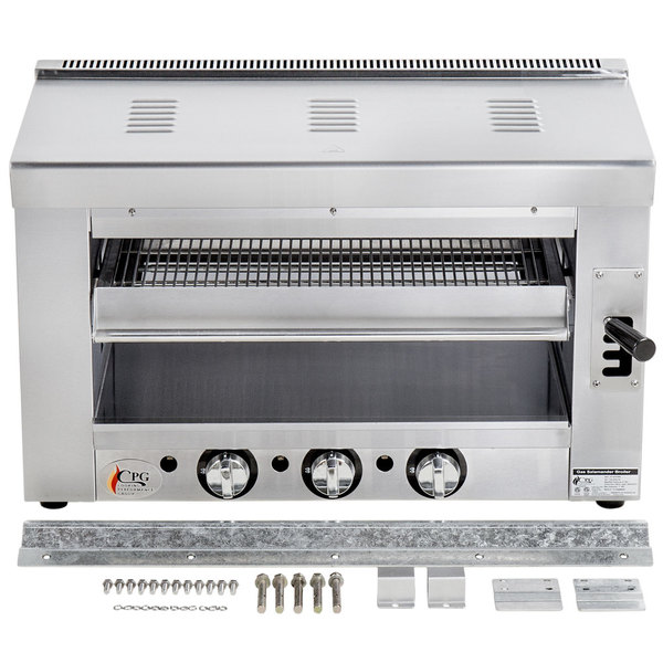 """Cooking Performance Group S-36-SB-L 36"""" Liquid Propane Infrared Salamander Broiler with Wall Mounting Bracket - 36,000 BTU"""