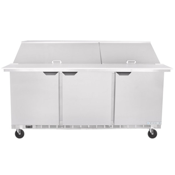 "Beverage-Air SPE72HC-30M Elite Series 72"" 3 Door Mega Top Refrigerated Sandwich Prep Table Scratch and Dent"