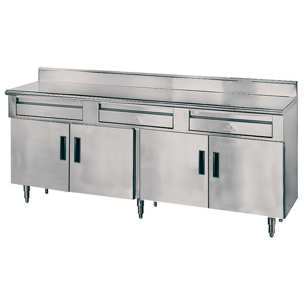 """Advance Tabco HDRC-308 30"""" x 96"""" 14 Gauge Enclosed Base Stainless Steel Work Table with 3 Drawers, 4 Hinged Doors and 5"""" Backsplash Scratch and Dent"""