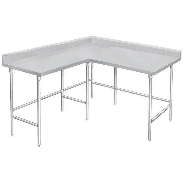 """Advance Tabco KTMS-306 30"""" x 72"""" 14 Gauge L-Shaped Corner SS Commercial Work Table"""