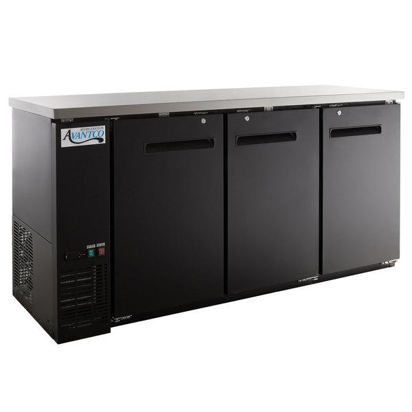 "Avantco UBB-72-HC 73"" Black Counter Height Narrow Solid Door Back Bar Refrigerator with LED Lighting"