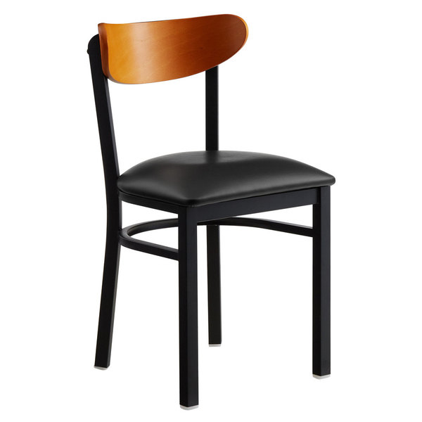 Lancaster Table & Seating Boomerang Black Chair with Black Vinyl Seat and Cherry Back Lot Item
