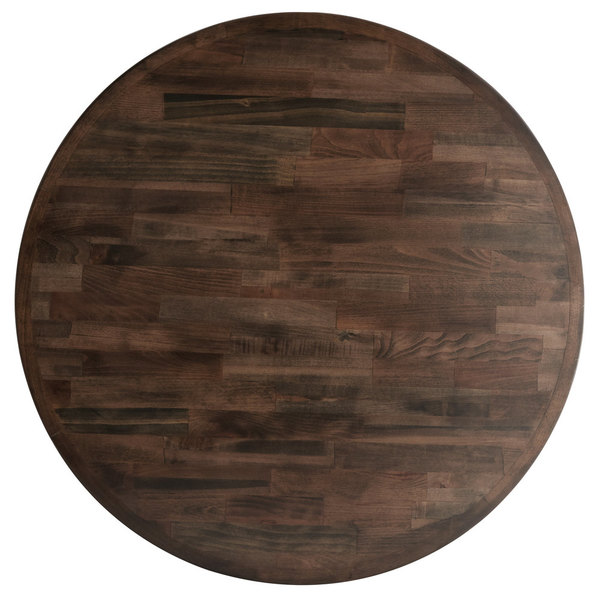 """Lancaster Table & Seating 30"""" Round Recycled Wood Butcher Block Table Top with Espresso Finish"""