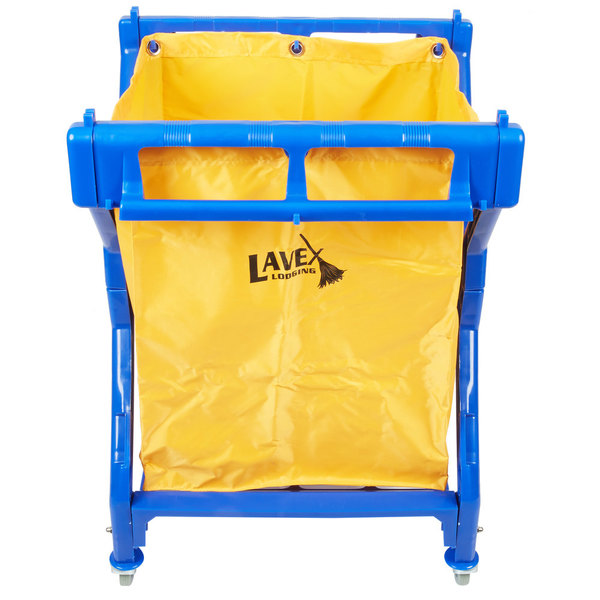 Lavex Lodging Commercial Laundry Cart/Trash Cart, 10 Bushel Folding Plastic Frame and Vinyl Bag