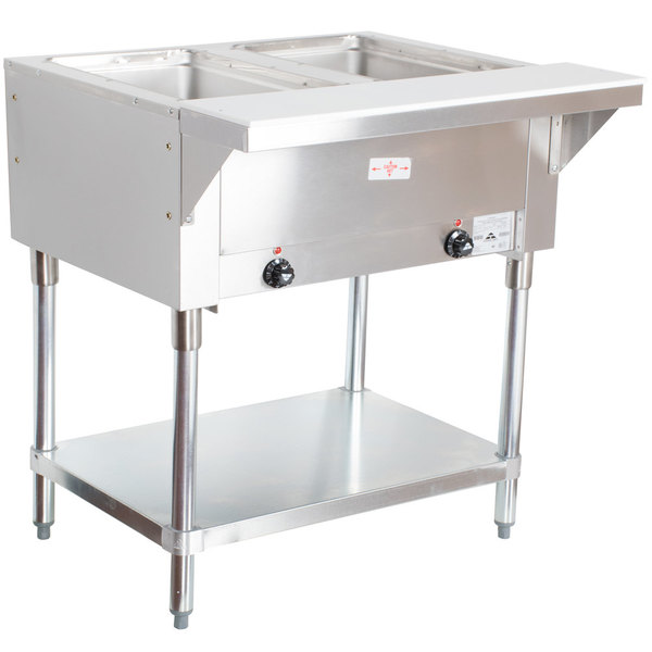 Advance Tabco SW-2E-120 Two Pan Electric Hot Food Table with Undershelf - Sealed Well, 120V