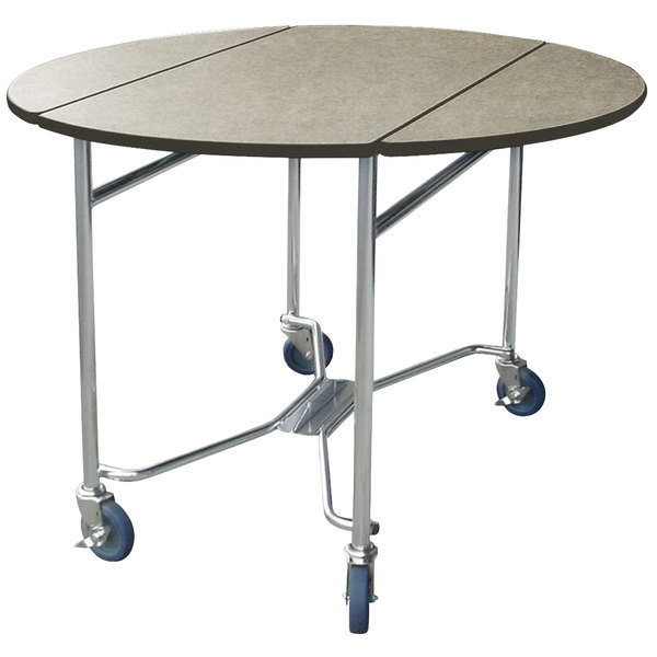 """Lakeside 412GS Mobile Round Top Room Service Table with Gray Sand Finish - 40"""" x 40"""" x 30"""""""