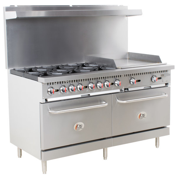 "Cooking Performance Group S60-G24-N Natural Gas 6 Burner 60"" Range with 24"" Griddle and 2 Standard Ovens - 280,000 BTU"