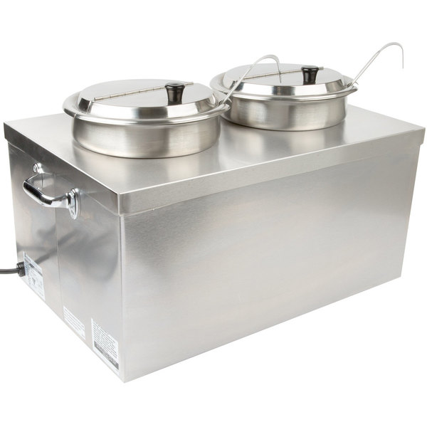 Scratch and Dent APW Wyott CWM-2SP Full Size Insulated Countertop Food Cooker / Warmer with (2) 7 Qt. Insets, 2 Ladles, and 2 Lids - 120V Main Image 1