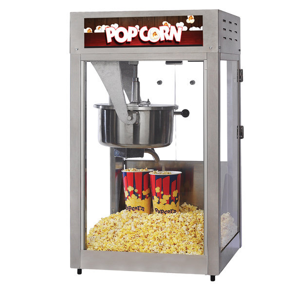 Scratch and Dent Nemco GS1516 Global Solutions 16 oz. Black and Stainless Steel Popcorn Machine / Popper - 120V, 1710W Main Image 1