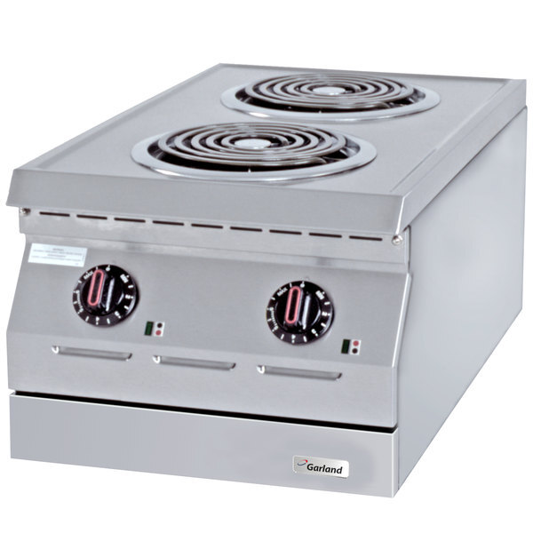 """Scratch and Dent Garland ED-15H Designer Series 15"""" Two Open Burner Electric Countertop Hot Plate - 208V, 3 Phase, 4.2 kW Main Image 1"""