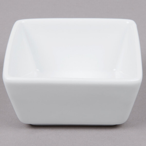 Scratch and Dent World Tableware SL-44 Slate 4 oz. Ultra Bright White Square Porcelain Dipping Bowl - 36/Case Main Image 1