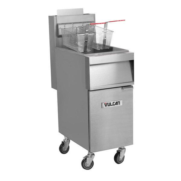Scratch and Dent Vulcan 1GR35M-2 35-40 lb. Liquid Propane Floor Fryer - 90,000 BTU Main Image 1