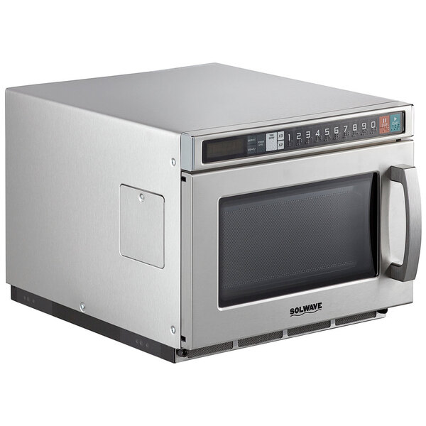 Scratch and Dent Solwave Space Saver Stainless Steel Heavy-Duty Commercial Microwave with USB Port - 208/240V, 2100W Main Image 1