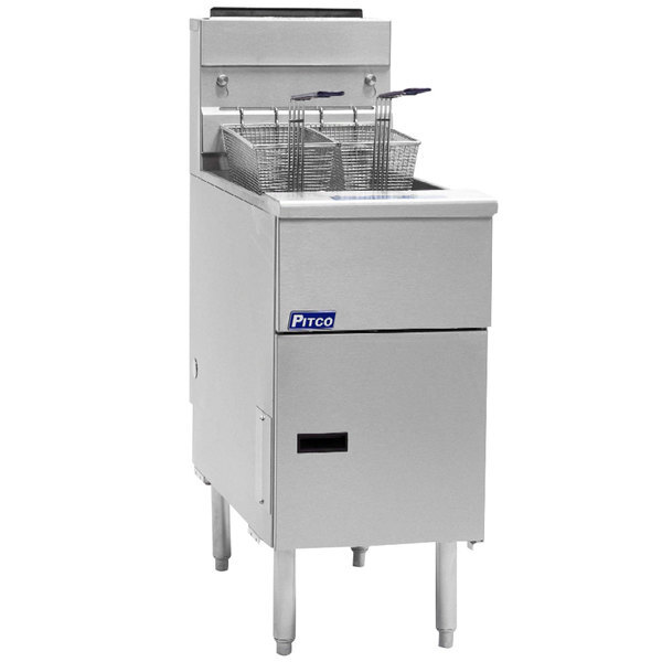 Scratch and Dent Pitco® SG14-S Liquid Propane 40-50 lb. Stainless Steel Floor Fryer - 110,000 BTU Main Image 1
