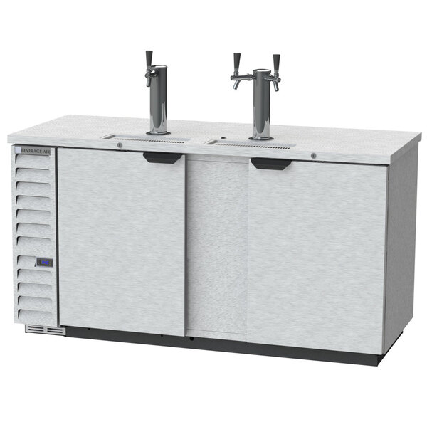 Scratch and Dent Beverage-Air DD68HC-1-S 1 Single and 1 Double Tap Kegerator Beer Dispenser - Stainless Steel Front, (3) 1/2 Keg Capacity Main Image 1