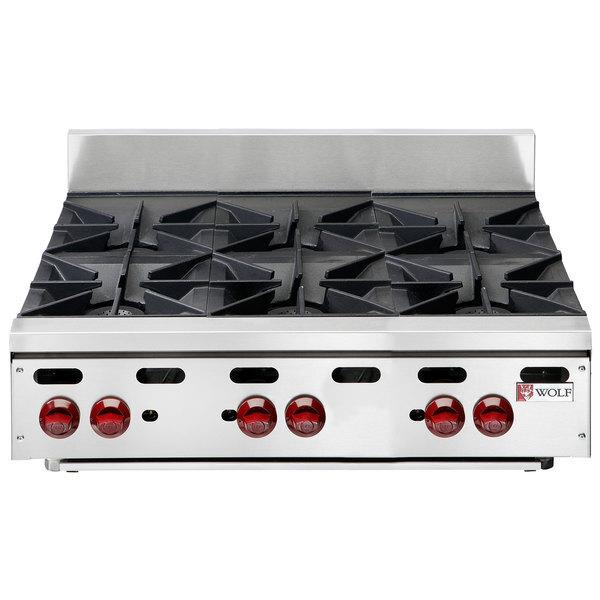 "Scratch and Dent Wolf AHP636-NAT Achiever Natural Gas 36"" 6 Burner Countertop Range - 180,000 BTU Main Image 1"