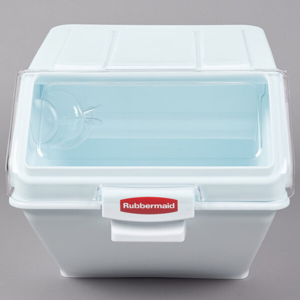 Scratch and Dent Rubbermaid FG9G5800WHT ProSave 12.6 Gallon / 200 Cup White Shelf Ingredient Storage Bin with Sliding Lid & Scoop Main Image 1