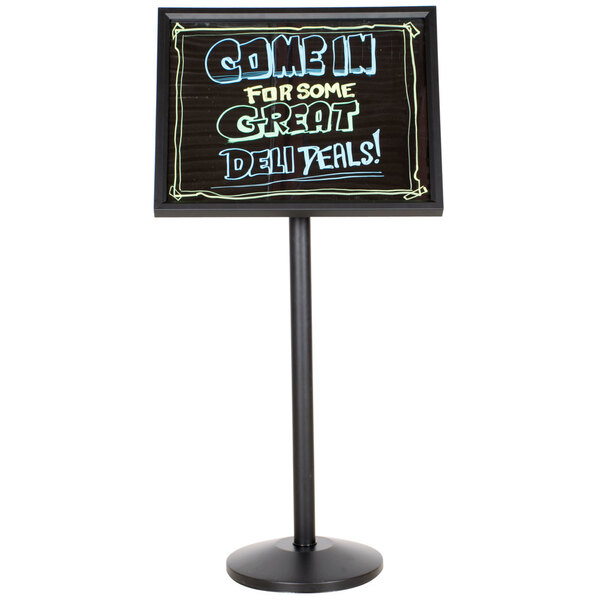 Scratch and Dent Aarco P-7BK Single Pedestal Black Frame Black Marker Board with Neon Markers Main Image 1