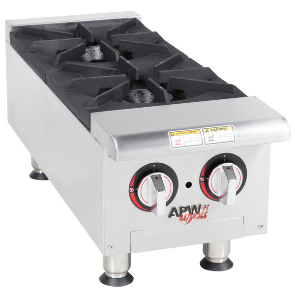 "Scratch and Dent APW Wyott HHP-212 Natural Gas Heavy Duty 2 Burner Countertop 12"" Range / Hot Plate - 60,000 BTU Main Image 1"