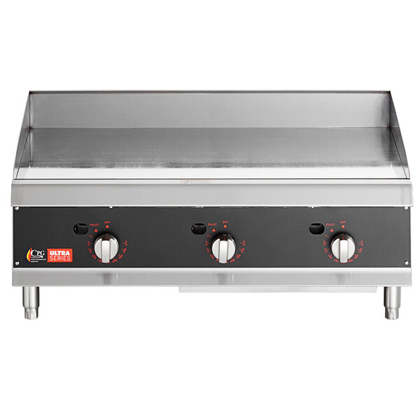 """Scratch and Dent Cooking Performance Group 36L Ultra Series 36"""" Heavy-Duty Chrome Plated Liquid Propane 3-Burner Countertop Griddle - 90,000 BTU Main Image 1"""