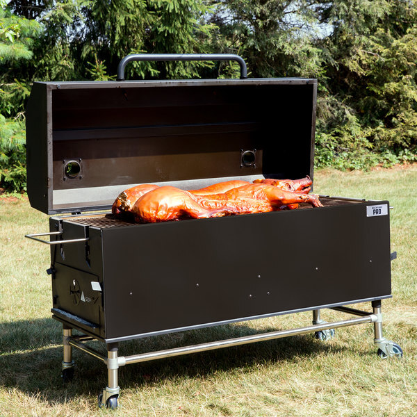 """Scratch and Dent Backyard Pro 554SMOKR60AS 60"""" Charcoal / Wood Smoker Grill with Adjustable Grates and Dome - Assembled Main Image 1"""