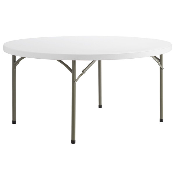 """Scratch and Dent Lancaster Table & Seating 60"""" Round Heavy Duty Granite White Plastic Folding Table Main Image 1"""