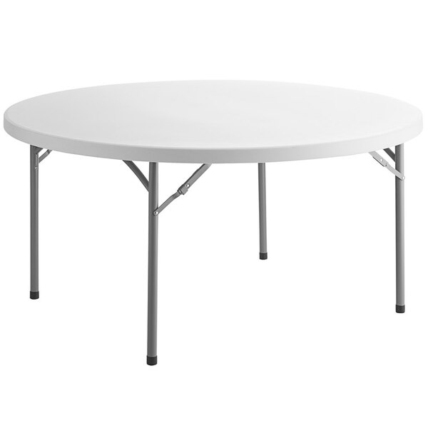 "Scratch and Dent Choice 60"" Round White Plastic Folding Table Main Image 1"
