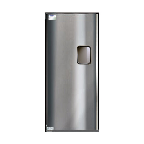 "Scratch and Dent Curtron Service-Pro Series 30 Single Aluminum Swinging Traffic Door - 36"" x 84"" Door Opening Main Image 1"