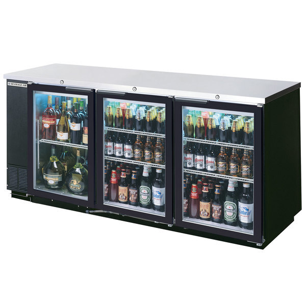 """Scratch and Dent Beverage-Air BB72HC-1-G-PT-B-27 72"""" Black Glass Door Pass-Through Back Bar Refrigerator with 2"""" Stainless Steel Top Main Image 1"""