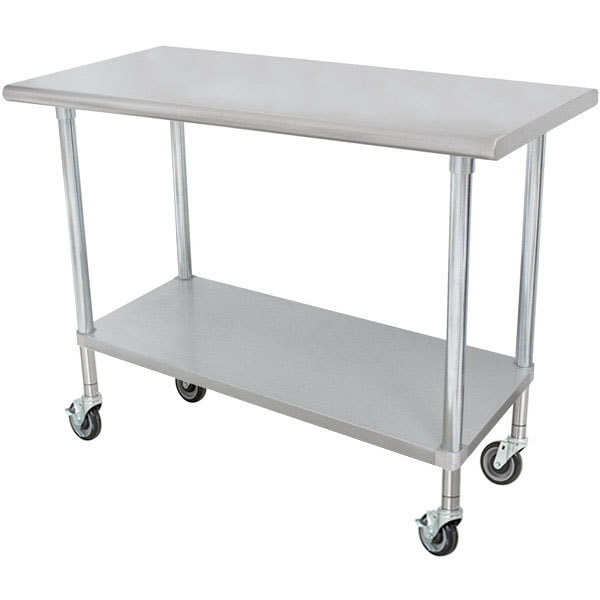 """Scratch and Dent Advance Tabco ELAG-305C 30"""" x 60"""" 16-Gauge 430 Stainless Steel Economy Work Table with Galvanized Undershelf and Casters Main Image 1"""