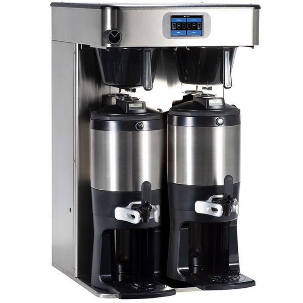 Scratch and Dent Bunn 53400.0101 ICB Twin Tall Platinum Edition Infusion Series Black / Silver Twin Automatic Coffee Brewer - 120/240V, 6000W Main Image 1
