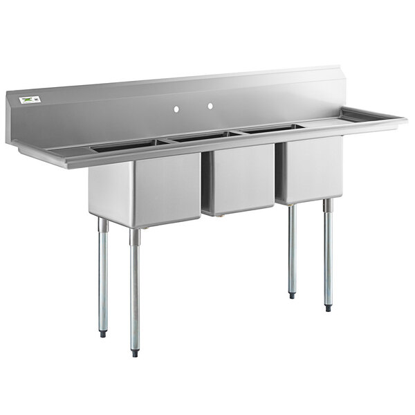 """Scratch and Dent Regency 79"""" 16-Gauge Stainless Steel Three Compartment Commercial Sink with Galvanized Steel Legs and 2 Drainboards - 15"""" x 15"""" x 12"""" Bowls Main Image 1"""