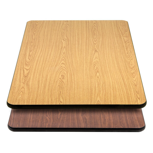 "Scratch and Dent Lancaster Table & Seating 30"" x 48"" Laminated Rectangular Table Top Reversible Walnut / Oak Main Image 1"