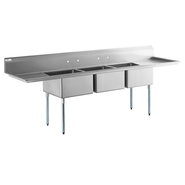 """Scratch and Dent Regency 121"""" 16-Gauge Stainless Steel Three Compartment Commercial Sink with Galvanized Steel Legs and 2 Drainboards - 23"""" x 23"""" x 12"""" Bowls Main Image 1"""