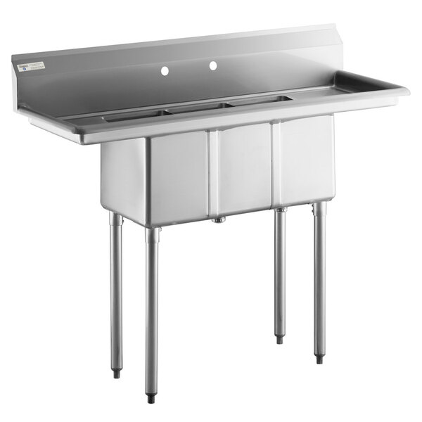 "Scratch and Dent Steelton 54"" 18-Gauge Stainless Steel Three Compartment Commercial Sink Body with 2 Drainboards - 10"" x 14"" x 12"" Bowls Main Image 1"