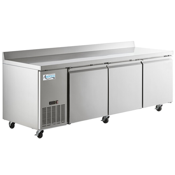 """Scratch and Dent Avantco SS-WD-3R 93"""" Stainless Steel Extra Deep Worktop Refrigerator with 3 1/2"""" Backsplash Main Image 1"""